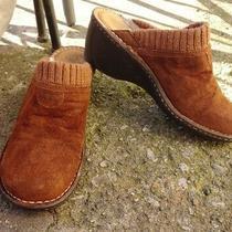 Women's Ugg Australia Gael Brown Suede Sheepskin Wedge Clogs Size 9 Photo