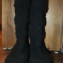 Women's Ugg Black Knit Slipper Sock Boots Size 9 (Excellent Condition) Photo