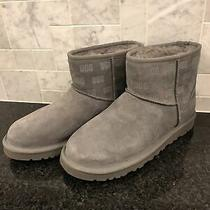 Women's Ugg Classic Mini Ii Ugg Print Gray Grey Boots- Size 8- 1119391 Photo