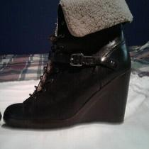 Women's Ugg Collection Boots Caprera Black Wedge Leathermade in Italy (Size10m) Photo