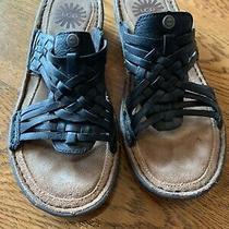 Women's Ugg's Sz 6 Us Eu Black Leather Slide Sandals Open Toe Flat Photo