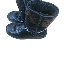 Women's  Ugg Sequin Black Classic Sparkly Boots  Sz 10 Photo