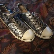 Womens Ugg Sparkly Silver Leather  Sneakers Size 8 Euc Photo