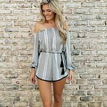 Women's Urban Outfitters Stripped Romper White and Black Size Xs Photo