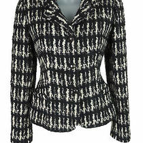 Women's Valentino Black & White Tweed Wool Blend Blazer Jacket Size 4 Photo