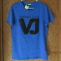 Women's Versace Jeans Logo Soft Tee T-Shirt Royal Blue/black S Small Nwt 179 Photo