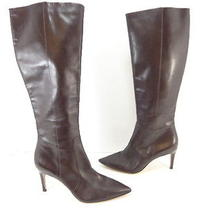 Women's via Spiga 'Dacia' Leather Pointed Toe High Heel Boots Brown Size 8 M  Photo