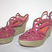Womens via Spiga Fushia Twill Wedge Strappy Sandals Size 10 M Msrp 198. Photo