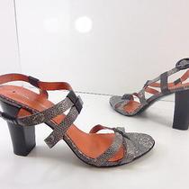 Women's via Spiga Leather Snakeskin Strappy Sandals Gray Size 9 M  Photo
