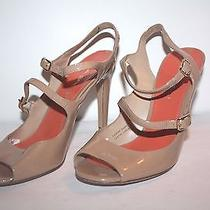 Women's via Spiga  Nude Patent Leather Strappy Peep Toe Heels Size 6.5m Photo