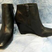 Women's via Spiga Size 9.5 Black Leather Wedge Bootie Zipper Nwt 120 No Box Photo