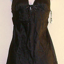 Women's Victoria's Secret Black & Silver Silk Short Nightie Sz-M Photo