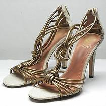 Women's Vince Camuto Amberan Bronze Leather Strappy Sandals W/ Zipper Size 7.5 B Photo
