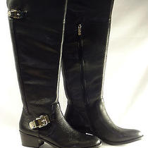 Women's Vince Camuto Bocca Over Knee Black Leather Riding Boots Size 12m Photo