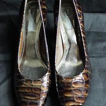 Women's Vince Camuto Brown Leather High Heel Shoes Pumps Sz 9b Alligator Print  Photo