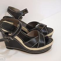 Women's Vince Camuto Brown Leather Open Toe Heels / Sandals Size 6.5 Medium Photo