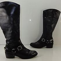 Women's Vince Camuto 'Brunah' Tall Side Zip Leather Boots Black Size 8.5 M Photo