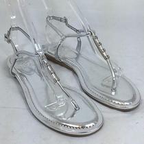 Women's Vince Camuto Koopa Silver T-Strap Sandal Size 7 M 59 Nj3 Photo