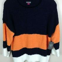 Women's Vince Camuto Navy Orange Stripe 3/4 Sleeve Teddy Sweater Size S Photo
