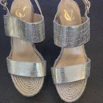 Women's Vince Camuto Platform Espadrille Wedge Heels Gold Straps 9.5 Photo