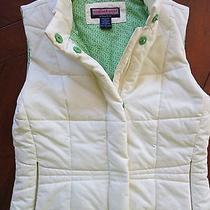 Women's Vineyard Vines Cream Color Quilted Vest Sz S Small - Green Whale Lining  Photo