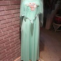 Women's Vintage 60's 70's Sheer Aqua Asymm Cape Embroidery Poly Knit Dress S Photo