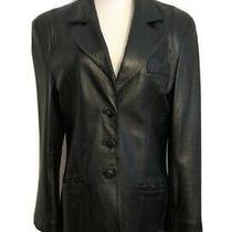 Women's Vintage Black Leather Blazer - Medium Photo