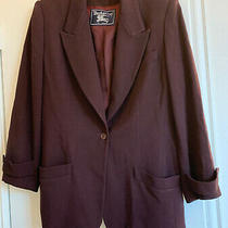 Womens Vintage Burberrys Sz 12 Double Burgundy Burberrys of London Wool Blazer Photo