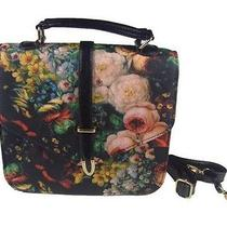 Women's Vintage Flower Painting Leather Handbag Photo