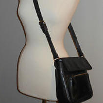 Women's Vintage Fossil Black Leathercrossbody Messenger Organizer Purse Tote Photo