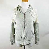 Women's Vintage Havana Gray Hoodie White Lace Shoulders Zipper Front Size Small Photo