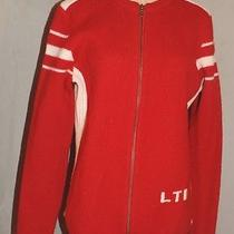 Women's Vintage the Limited Heavy Red College Zip Front Large Sweater Photo