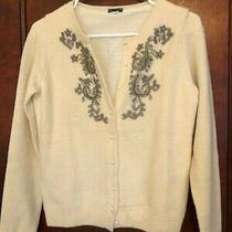Women's Vintage Wool Cardigan Gold/silver Beaded Sweater Sz Xs Photo