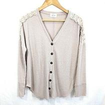 Women's Waffle Knit Button Front W/ Crochet Shoulder Sweater Top Blush Pink M Photo