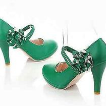 Women's Wedding Bridal Shoes Fashion Platform Pumps Mary Janes Us Sz  Photo