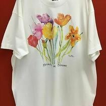 Women's White T-Shirt W/ Colorful Flowers &
