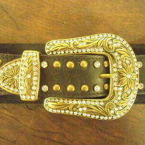Women's Wide Western Belt Guess Brand W Brass & Rhinestones W Stretchy Back Sz M Photo