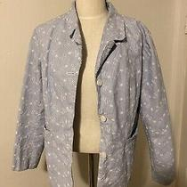 Womens Xl Denim & Co Blue and White Pin Striped Embroidered Blazer Photo