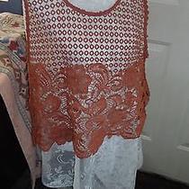 Women's  Xl Sleeveless Camisole Top Crochet Blush/coral Scoop Neckline Xl Photo
