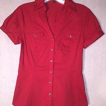Women's Xs Express Stretch Red  Dress Shirt Top T-Shirt Blouse Photo