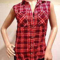 Women's Xs Red Plaid Sleeveless Button Down Grunge Shirt From Urban Outfitters Photo