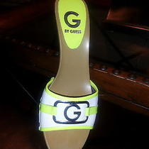 Women's Yellow and White Guess Slippers Size 9 Photo