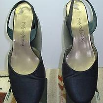Women's Yves Saint Laurent Black Silk/fabric Formal Slingback Sz. 8m Mint Photo