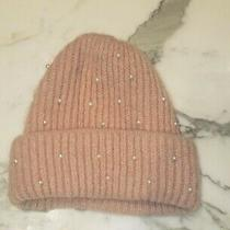 Women's Zara Blush Soft Pastel Pink Knitted Hat Soft Warm With White Pearls Dots Photo