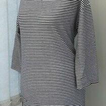 Women's Zara Trafaluc Tunic Dress Small 8/10 Blue & White Stripe Mock Neck Photo