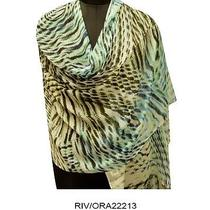 Women Scarf White Abstract Print Modal Superfine Stole Indian Wrap Long Dupatta Photo
