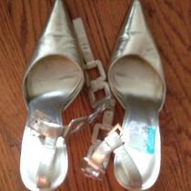 Women Sexy Bebe Gold Anklestrap Pointed Toe Highheel Pump Bridal Wedding Shoe 7  Photo