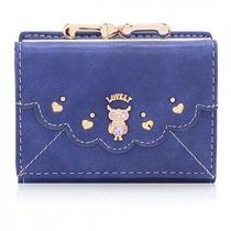 Women Shining Lovely Crystal Owl Nubuck Leather Short Wallet Purse Coin Bag  Photo