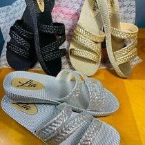 Women Slide Glossy Flip Flop Sandals Black/ Silver or Rose Gold Size 5-10 Photo