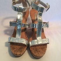 Women Steve Madden Silver Wedge Sandal Size 8 1/2 Medium Photo